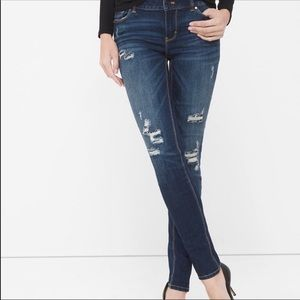 WHBM The Skinny Distressed Jeans Patched Sequins